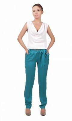 брюки женские морская волна с поясом