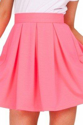 розовая короткая юбка в складку