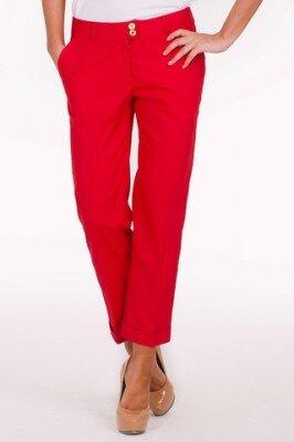 красные укороченные женские брюки