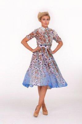 цветное платье миди с пояском