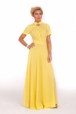 жёлтое платье в пол с коротким рукавом