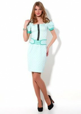 мятное платье с коротким рукавом