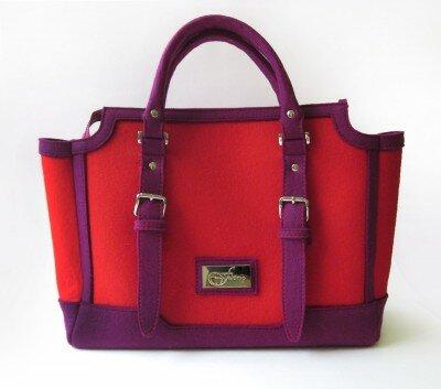 сумка из фетра малиновая с фиолетовым