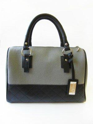 сумка саквояж серая с чёрными ручками