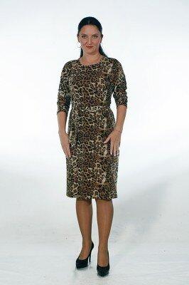леопардовое утеплённое платье с поясом