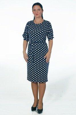 трикотажное чёрное платье в горох цена