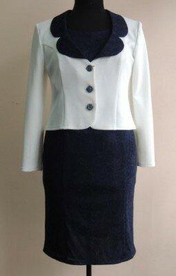 костюм двойка женский пиджак белый и синее платье цена
