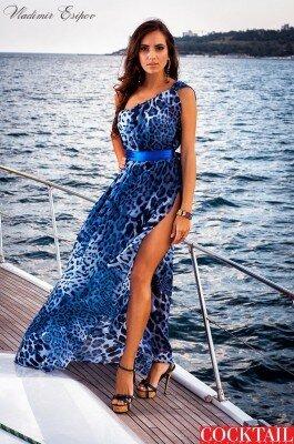 синее леопардовое длинное платье