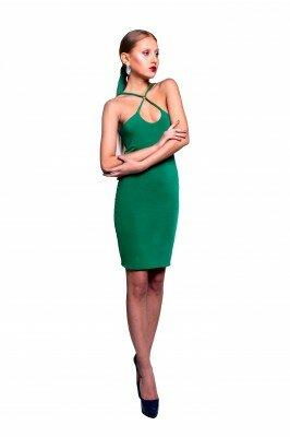 зелёное платье на бретелях цена