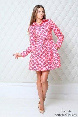 осеннее платье короткое с пышной юбкой розовое цена