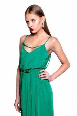 зелёное платье на бретелях длинное купить