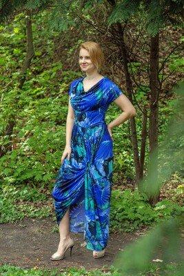 синие платье с разрезом длинное