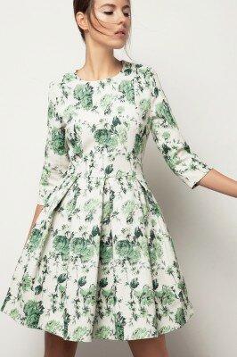 нежное платье в зелёный цветок с укороченным рукавом и юбкой в складку цена