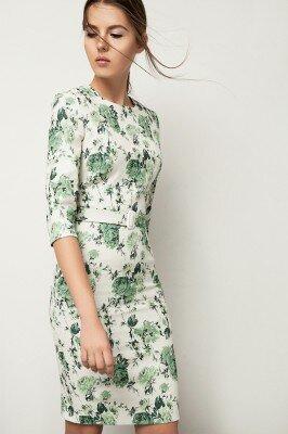 нежное платье в зелёный цветок с укороченным рукавом