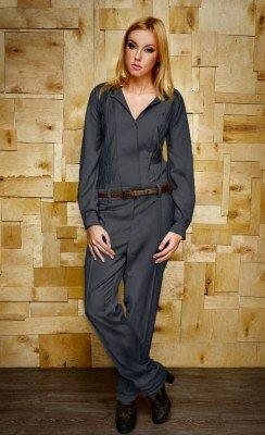 женский комбинезон брючный с коричневым поясом цена