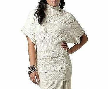 вязанный свитер кремовый с короткими широкими рукавами
