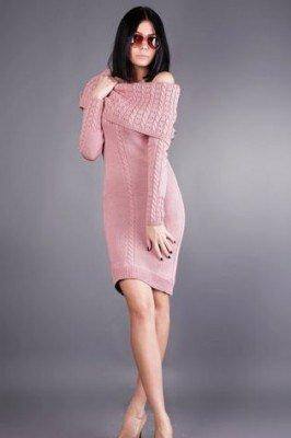 розовое вязанное платье в обтяжку цена