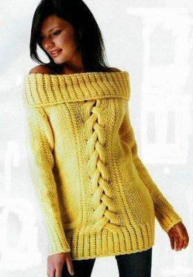 вязанный свитер жёлтый с открытыми плечами