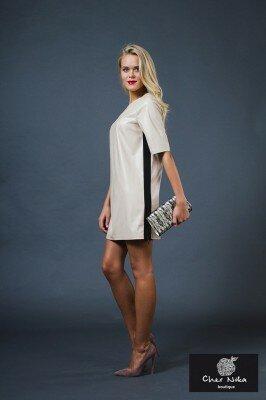 молочное свободное кожаное платье короткое купить
