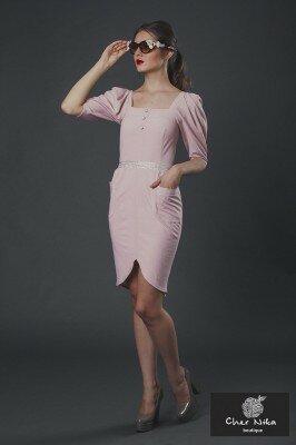 нарядное платье светло розовое с рукавами фонариками и закруглённым разрезом цена