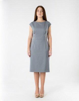 серое строгое платье ниже колен цена