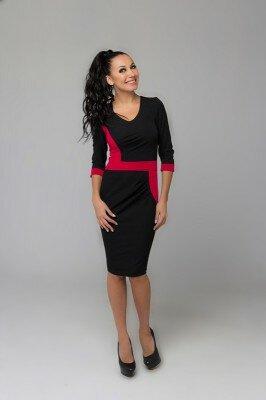 стильное платье до колен чёрное с малиновым