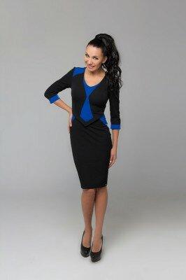 платье колор блок чёрное с синим