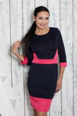 платье для работы чёрное с малиновыми вставками по фигуре