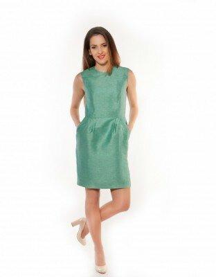 зелёное блестящее платье без рукавов цена