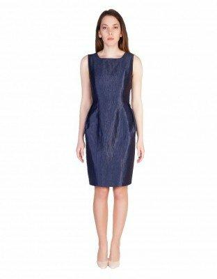 синее блестящее платье без рукавов