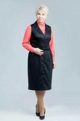 офисный чёрный сарафан из костюмной ткани