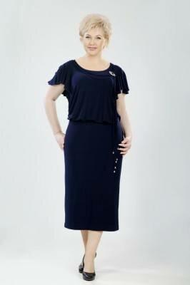 нарядное чёрное платье большого размера с висюльками