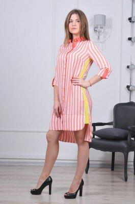 полосатое платье рубашка с длинной спинкой