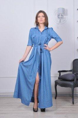 длинное платье рубашка нежно синего цвета стильное