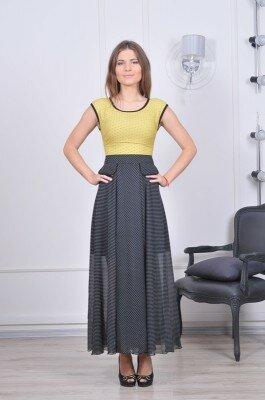 серо жёлтое платье длинное с карманами