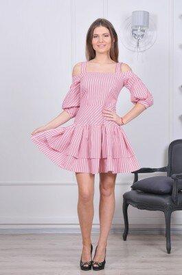 платье на бретелях и с рукавом от плеча в мелкую полоску розовое