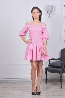 платье на бретелях и с рукавом от плеча в мелкую розовое купить