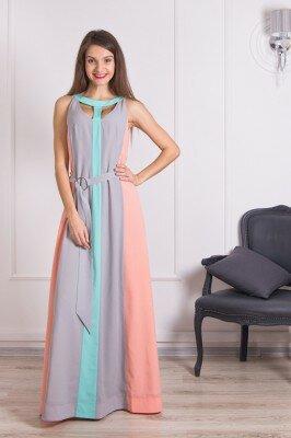 элегантное платье в пол из разноцветных клиньев