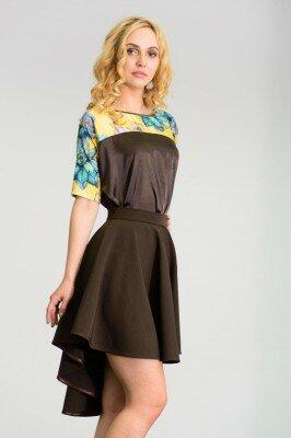 короткое платье со шлейфом коричневое с цветочным верхом цена