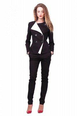 пиджак чёрный с белыми лацканами