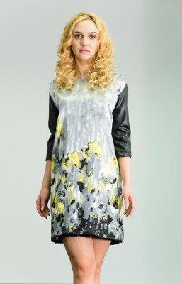 платье свободное короткое с принтом жёлтые цветы по низу