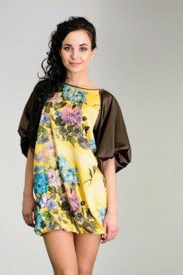 мини платье свободное с широкими подобранными рукавами с цветами