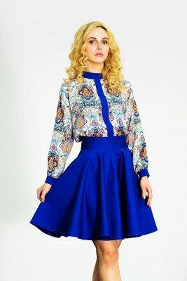 ярко синяя пышная юбка с молнией сзади купить