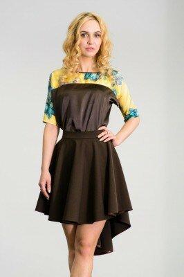 короткое платье со шлейфом коричневое с цветочным верхом