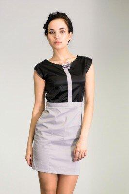 комбинированное платье чёрный верх серый низ