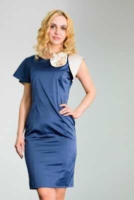вечернее платье с разными рукавами синее в обтяжку