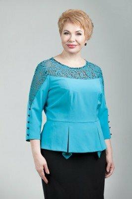 шикарная голубая блузка с гипюровым верхом цена