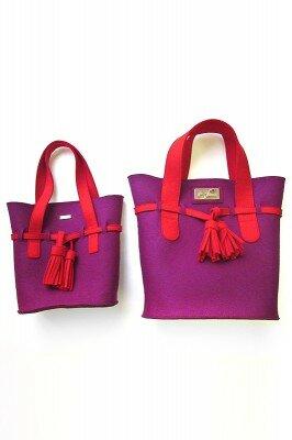 фиолетовая сумка модная войлочная с красными ручками купить