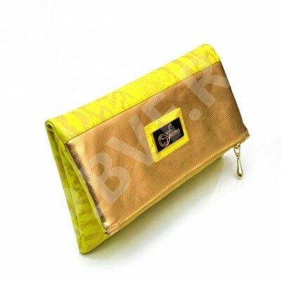 комбинированный клатч жёлтый с золотом цена