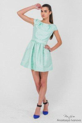 платье короткое мятное игривое с пышной юбкой нарядное цена